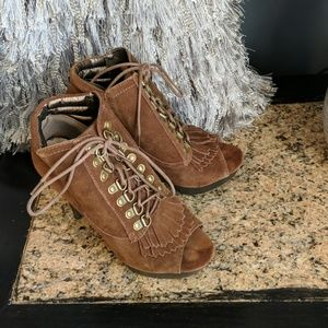 Lace up open toe bootie with fringe